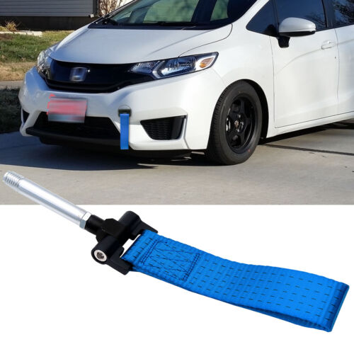 Blue JDM Style Racing Towing Strap Tow Hook For Honda FIT 3rd Gen 2015-2017 2018