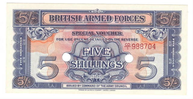 England BRITISH ARMED FORCES 5 Shillings aUNC Banknote (1948) P- M20 CD/1 Prefix