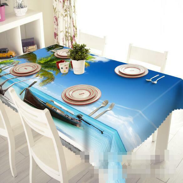 3D Sea Boat 42 Tablecloth Table Cover Cloth Birthday Party Event AJ WALLPAPER AU