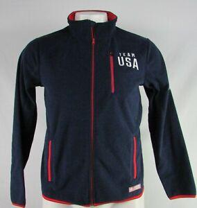 Team-USA-Men-039-s-Navy-Full-Zip-Fleece-Sweater