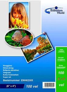 Premium inkjet 6 x 4 225 GSM A6 PHOTO GLOSS PAPER 100 sheets