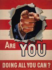 PROPAGANDA WAR WWII STRIPE POINT FINGER PATRIOTISM UNCLE SAM FLAG PRINT LV3763