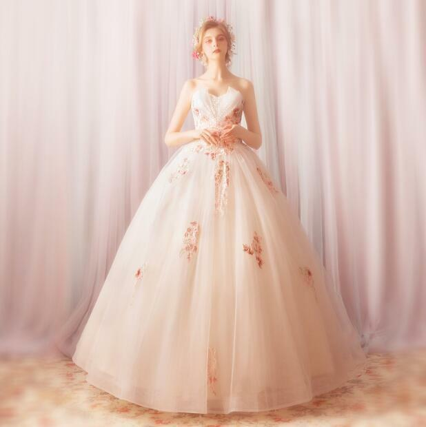 Trendy Embroidery Flowers Off Shoulder Ball Gown Bride Chapel Wedding Dress