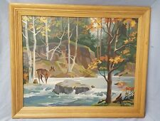 VINTAGE 23 X 19  Paint by Number Oil Painting Deer by Stream Forest Wood Frame