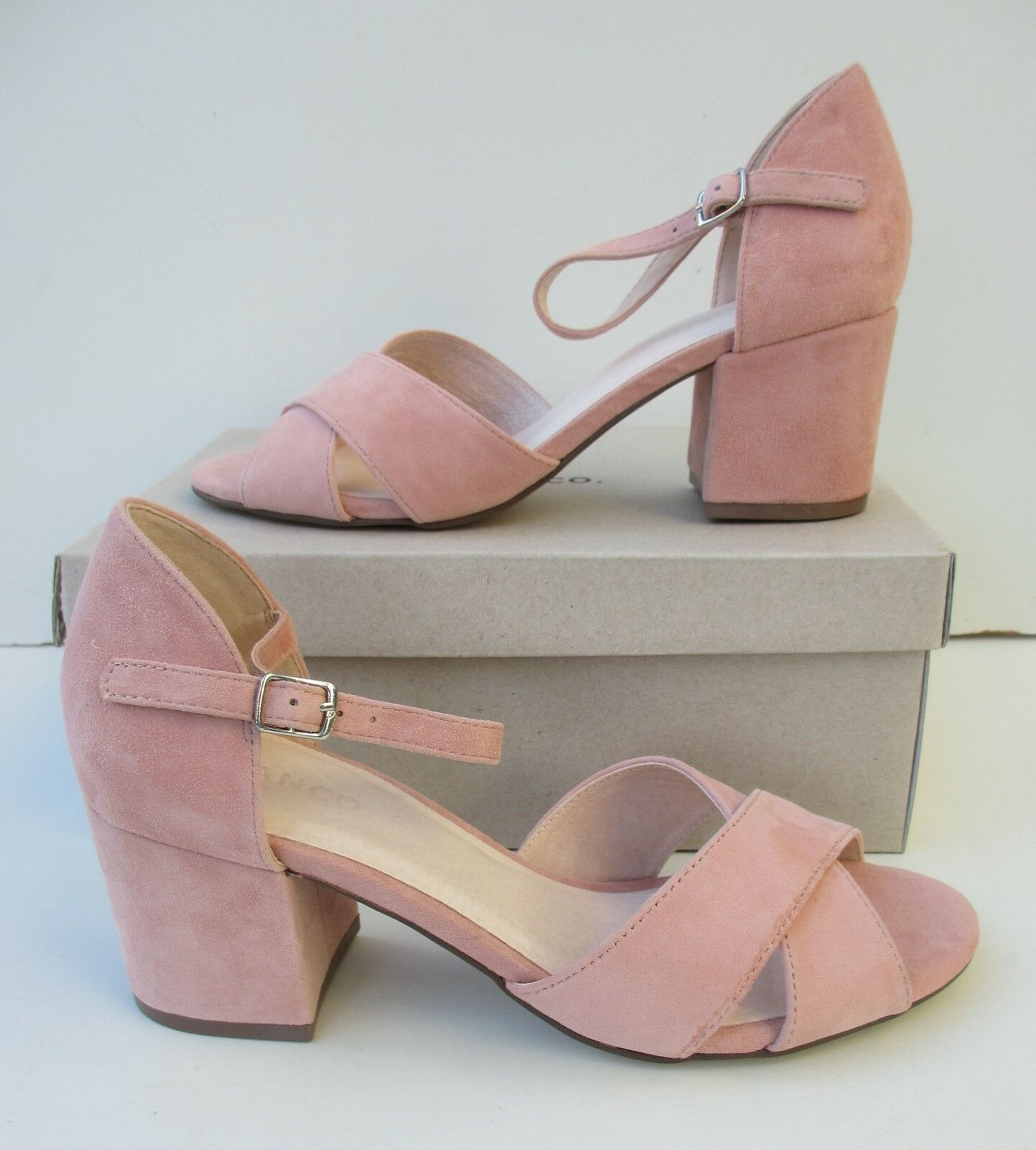 BIANCO Pink Suede Leather Womens Block Front Cross Sandals shoes UK5 EU38 US7