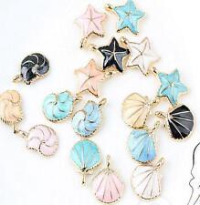 12pcs cartoon Color shells mix Metal Charms pendants DIY Jewellery Making crafts