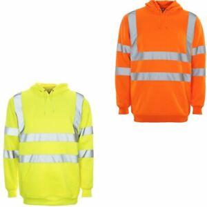 Mens Hi Vis Visibility Workwear Pullover Hoodie High Viz Hoody Hooded Top S-5XL