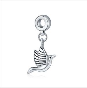 5PCS Mignon Peace Dove Silver Charm Pendentif Fit European Bracelet en argent À faire soi-même