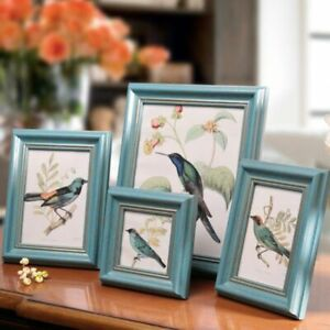 4pcs/set Blue Europe style Frame on Table Home Decoation Photo Picture Frames On