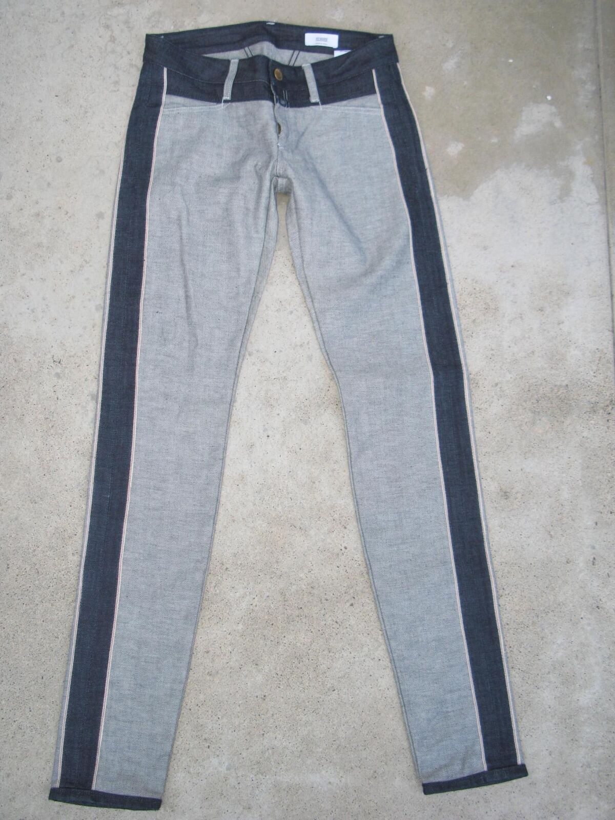 Closed Italiana Donna Aderente Cimossa Jeans Taglie 27 Reverse Denim Nuovo