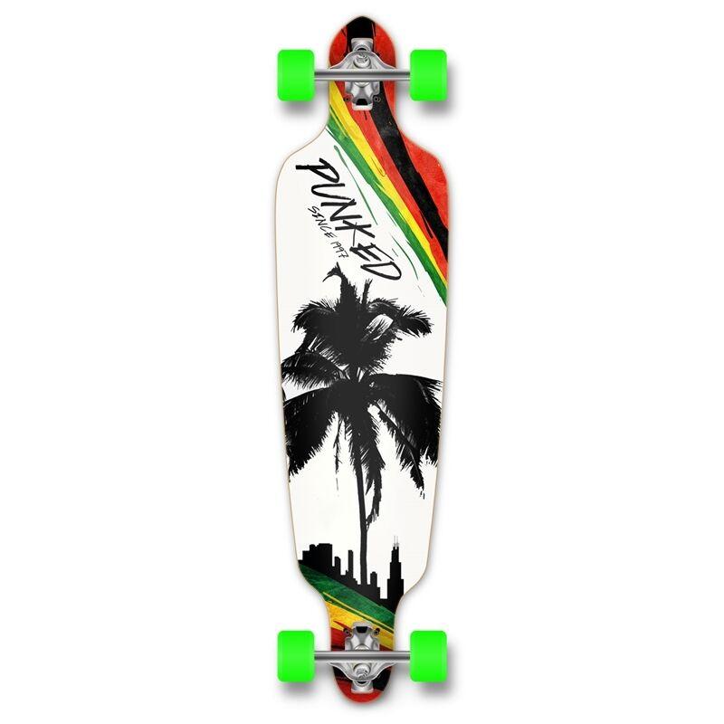 Yocaher Drop Through Longboard komplett - Palm City Rasta
