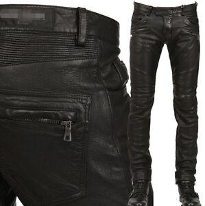 Punk-Rock-Homme-Cuir-PU-Moto-Slim-Pantalon-Taille-Noir-Nouveau-H39