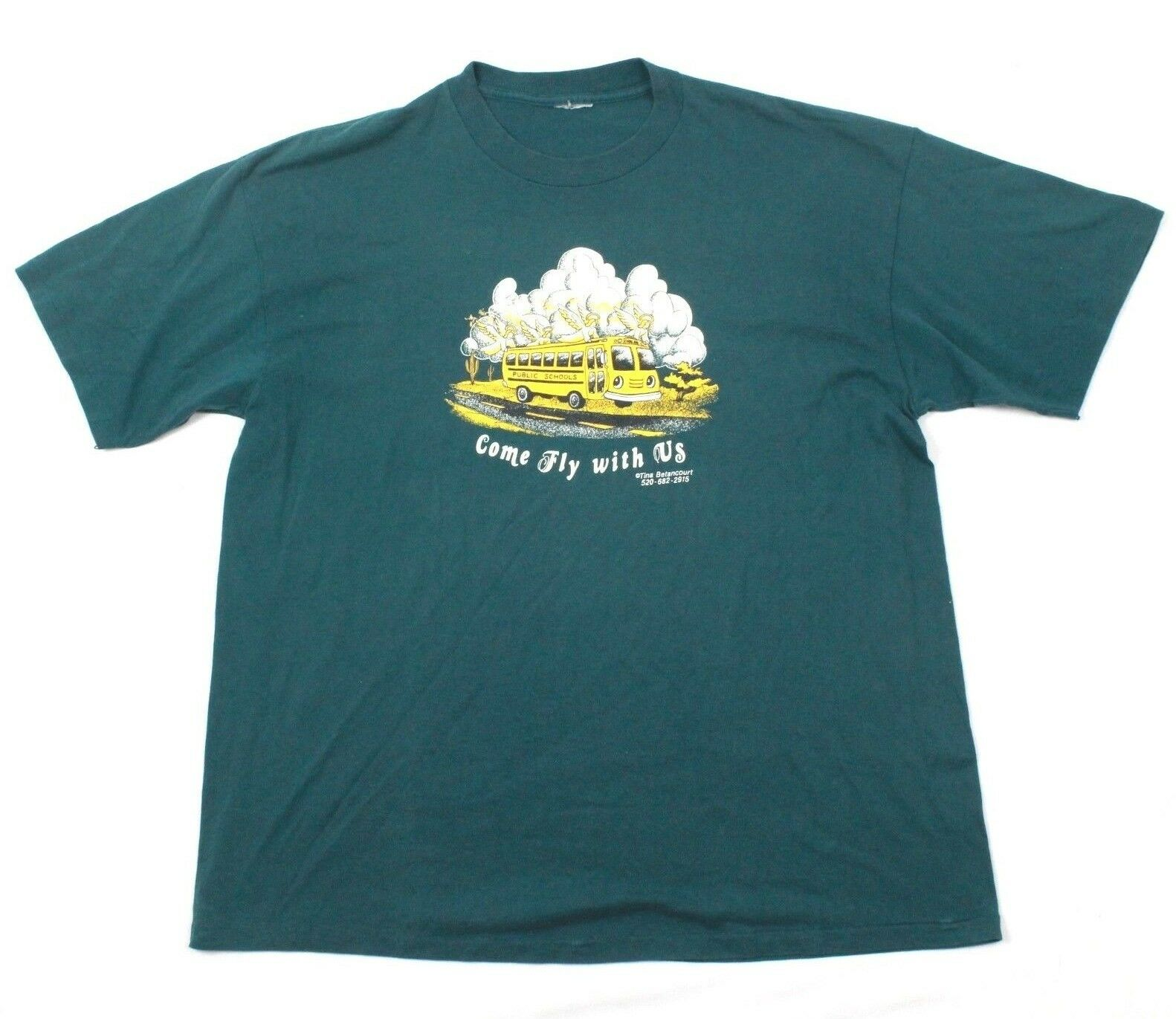 70s School Bus T-shirt Adult Extra Large VINTAGE Single Stitch COME FLY WITH US