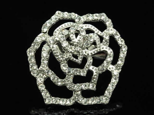 Austrian clear crystal silver scarf white rose flower floral Brooch pin clip D09