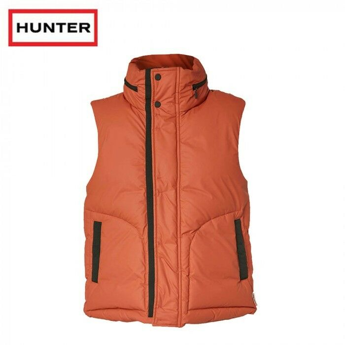 HUNTER ORIGINAL RUBBER TOUCH DOWN GILET orange Size S RRP