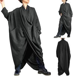 ZANZEA-Women-Batwing-Sleeve-Long-Shirt-Dress-Asymmetrical-Hem-Midi-Dress-Plus