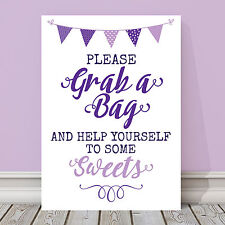 Item 7 Purple Lilac Bunting Sweet Table Candy Buffet Sign Wedding Party 3 For 2 Pl2