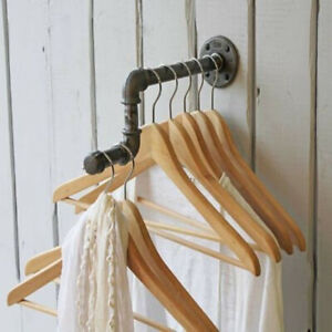 Iron-Industrial-Pipe-Clothes-Rail-Wall-Coat-Towel-Storage-Rack-Hanger-Organizer
