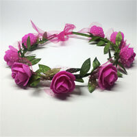 Fashion Women Girl's Flower Crown Elastic Hair Band Headband Wedding Party