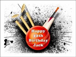 12 Cricket Edible Icing Image Birthday Cupcake Topper Cake Decoration #1