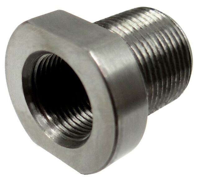 1/2-28 ID to 5/8-24 OD Threaded Adapter - Stainless Steel - USA MADE!  Free Ship