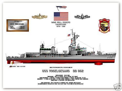 USS Vogelgesang DD 862 a Gearing Class Destroyer print