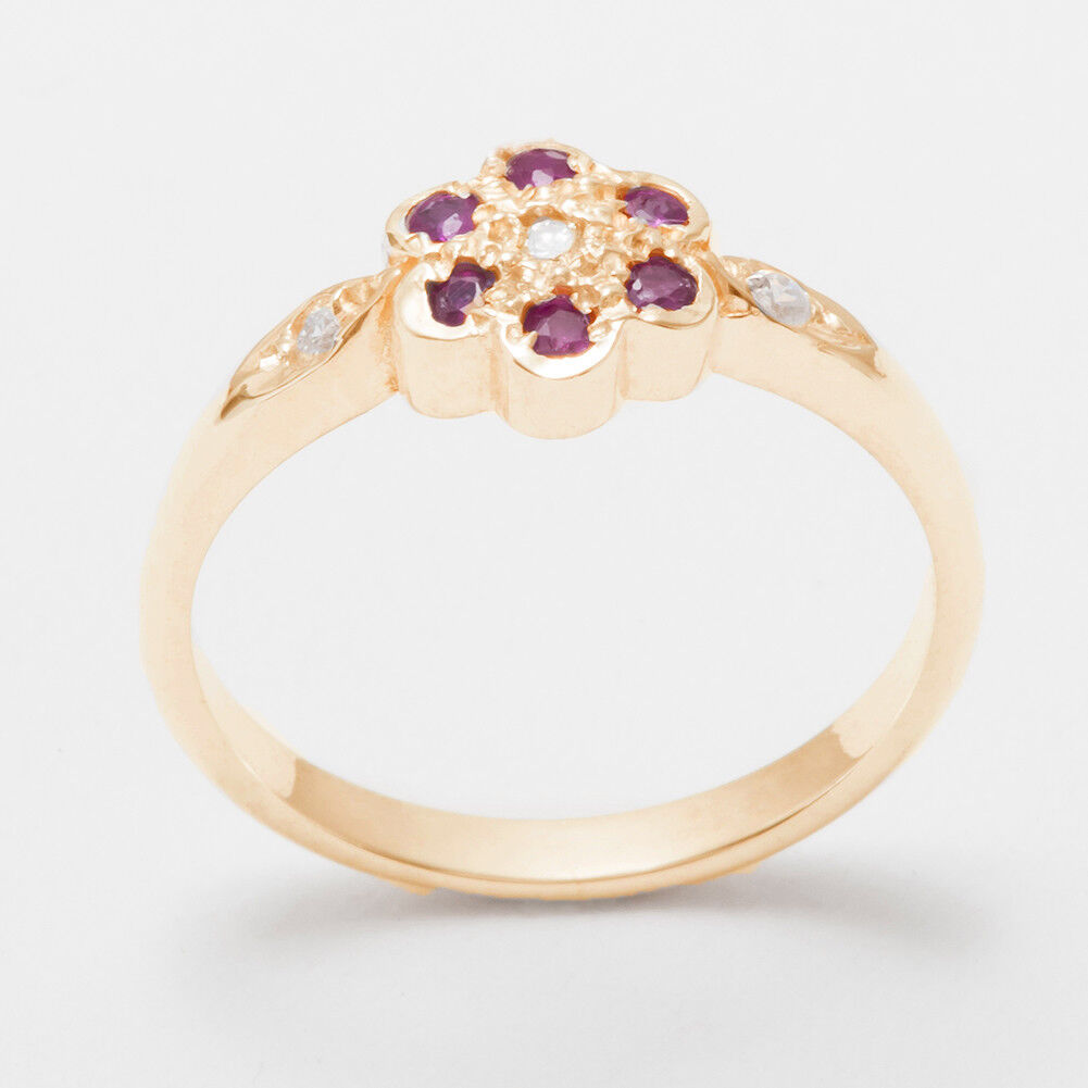 6eb6bcc56583b Solid pink Natural Diamond & Ruby Womens Cluster Ring - Sizes 4 to ...