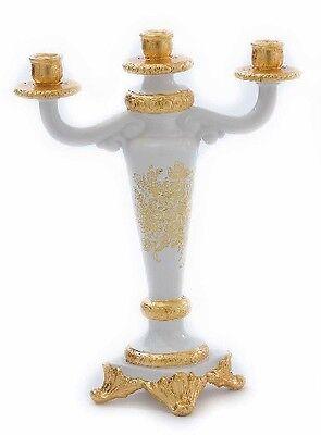 Candeliere 3 Fiamme Portacandele Via Veneto Ceramica Foglia Oro Soprammobile