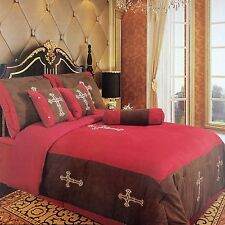 Embroidery Printed Texas Western Cross Luxury Comforter Suede 7 Pieces Set King