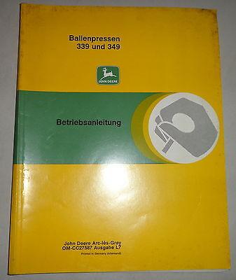 Motors Industrial Operating Instructions/handbook John Deere Baler 339 And 349 A Complete Range Of Specifications