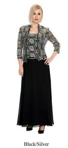 NEW Black/silver size 18 lace long formal gown/jacket, Emma Street ES6540
