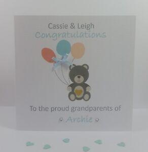 Personalised Handmade New Grandparents Card Grandson