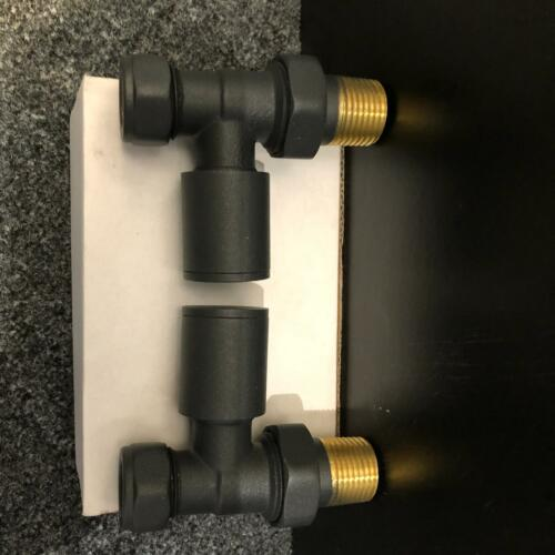 Straight Anthracite Towel Rail Radiator Valves Valve Pair 15mm 1//2 BSP