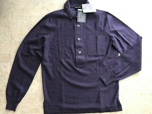 0e4f0fe3 TOM FORD 100% Merino Wool Purple Long Sleeve Polo Shirt Size IT 46 ...