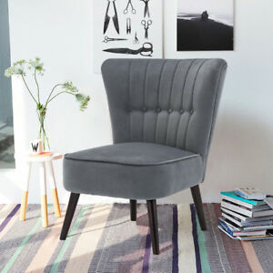 Details about Retro Occasional Hallway Bedroom Living/Bedroom Accent Chairs  Velvet Padded Grey