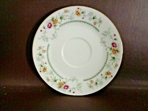 Pink-amp-Yellow-Floral-Saucer-With-Gold-Trim-Made-In-China