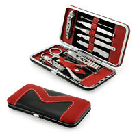 Drhotdeal 10 PCS Pedicure / Manicure Set Nail Clippers Cleaner Cuticle Grooming Kit Case