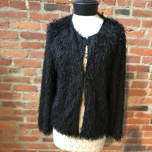 Max Studio Crop Jacket Black Fringe Blazer Long Sl