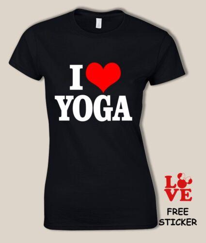 I Love Yoga T shirt Girl Novelty Tee Healing  Meditation Exercise Womens Top