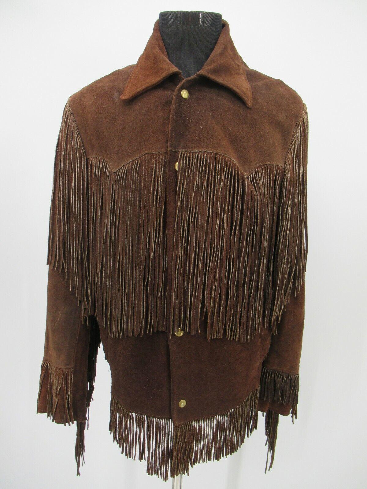 P5254 VTG Men's Buck Board Leather Suede Fringed … - image 1