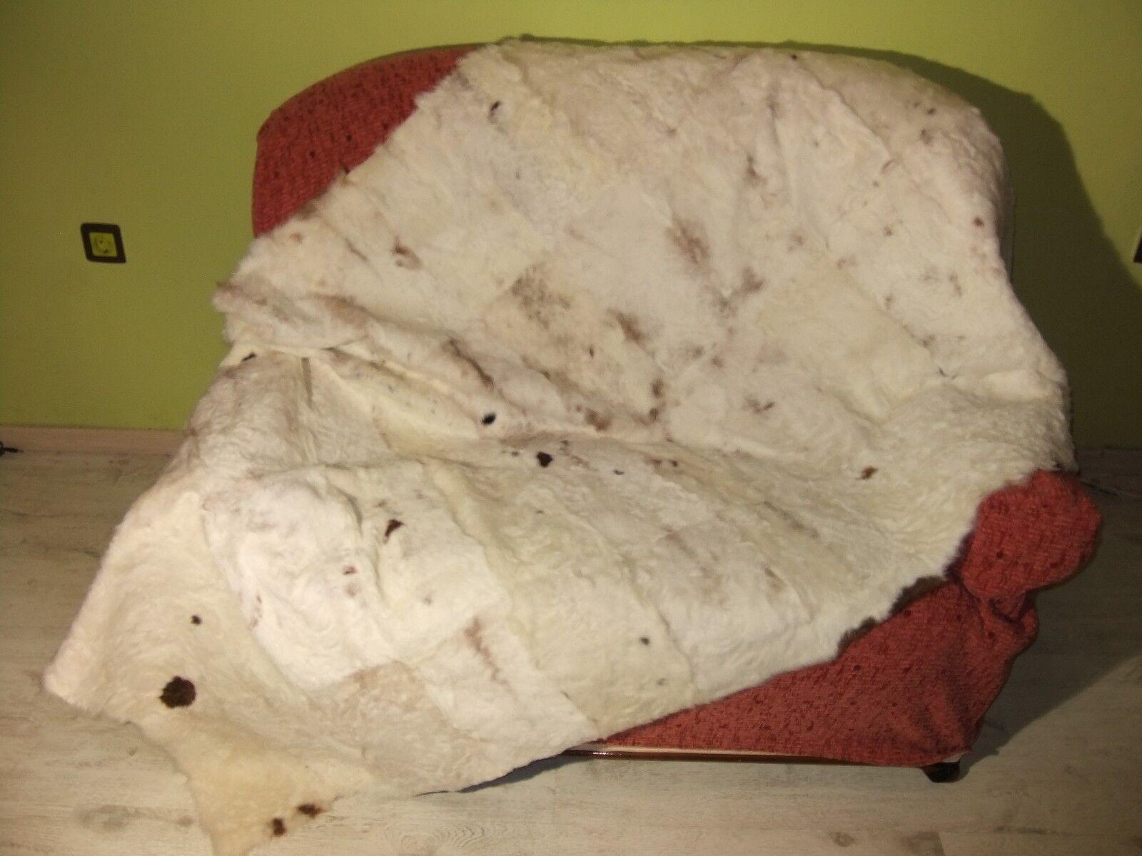 Luxury Astrakhan Skin Fur Throw Real Lamb Fur Blanket Bedspread