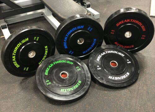 Olympic Bumper Plates NEW Breakthrough Strength Coloured Writing