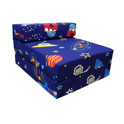 Children's Z Bed Fold Out Chair Space Boy Planets Rocket Mattress Sleepover Kids