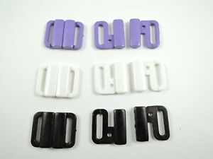 10 SETS BLACK PURPLE WHITE BIKINI CLIPS CLASPS BRA FASTENERS