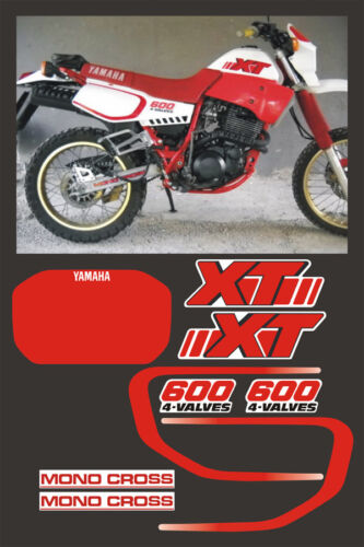 White and Red Kit Complete Yamaha XT 600 2kf 1986//49 Mod