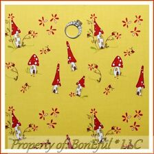 BonEful FABRIC FQ Cotton Yellow Red Cottage Chic S House Mushroom Flower Ladybug
