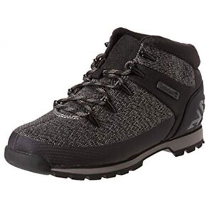 Timberland-Men-039-s-Euro-Sprint-Mid-Hiker-Black-Grey-Fabric-Boots-A1RCD