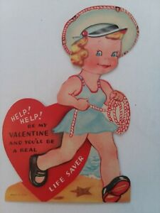 Vtg-GIRL-Removable-Hat-BEACH-SWIMSUIT-Be-Life-Saver-50s-VALENTINE-GREETING-CARD
