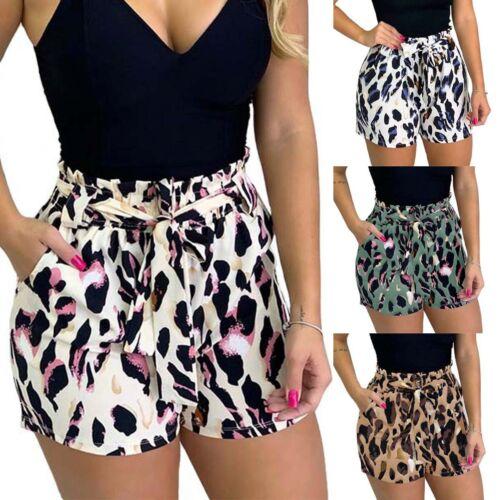 Women Floral Summer Tie Belt Culottes Shorts Casual Mini Pants Hot Loose Trouser