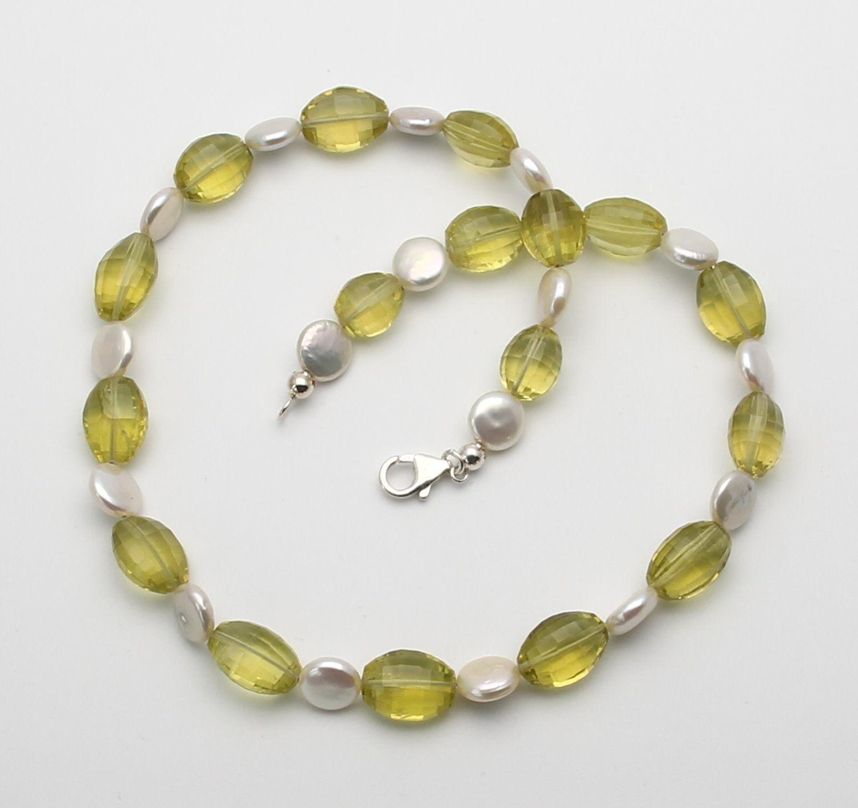 Lemonquarz-catena-OVALE SFACCETTATA lemonquarze con perle 44 5 cm cm cm 63210a